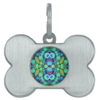Turquoise Blue Abstract Pattern Pet Tag