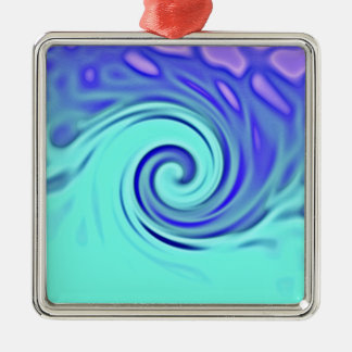 Turquoise Blue Abstract Wave Art Metal Ornament