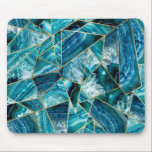 """Turquoise Blue Agate Black Gold Geometric Triangle Mouse Pad<br><div class=""""desc"""">This modern and chic teal,  turquoise,  navy blue,  and white agate geode stone triangles outlined in faux printed gold is perfect for the trendy and stylish individual. Its contemporary and classy design is great for many gifts and occasions. Enjoy this abstract and fashionable print for your next purchase!</div>"""