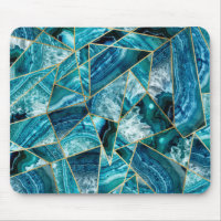 Turquoise Blue Agate Black Gold Geometric Triangle Mouse Pad