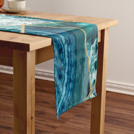 Turquoise Blue Agate Black Gold Geometric Triangle Short Table
