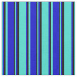 [ Thumbnail: Turquoise, Blue, and Black Colored Lined Pattern Fabric ]
