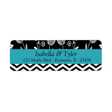 Wedding Themed Turquoise Blue and Black Floral Return Address Label