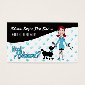 Turquoise Blue and Black Pet Groomer Need a Shave Business Card