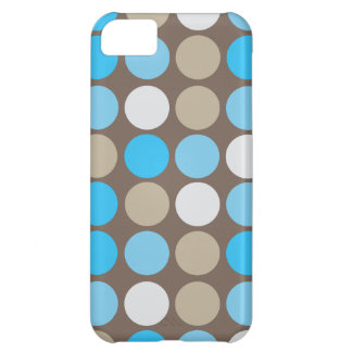 Turquoise Blue and Brown Dots Modern Pattern iPhone 5C Cover