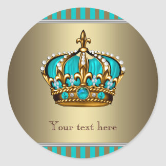 Turquoise Blue and Gold Crown Classic Round Sticker