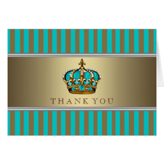 Turquoise Blue and Gold Prince Baby Shower Card
