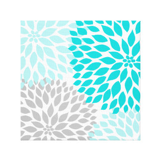 Turquoise blue and Gray Dahlia Square Wall Art