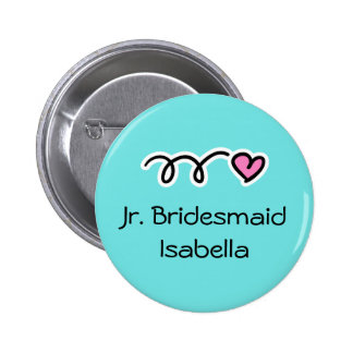Turquoise blue and pink junior bridesmaid buttons