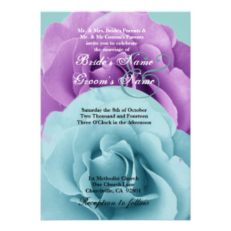 Turquoise  Blue and Purple Rose Wedding Template Personalized Invitations