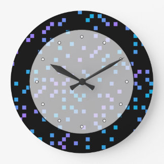 Turquoise, Blue and Purple Squares on Black. Large Clock