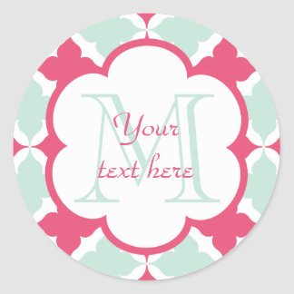 Turquoise Blue and Rose red tile pattern monogram Classic Round Sticker