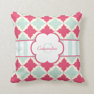Turquoise Blue and Rose red tile pattern monogram Throw Pillows