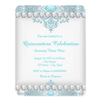 Turquoise Blue and Silver Diamond Quinceañera Card