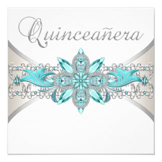 Turquoise Blue And Silver Quinceanera Card