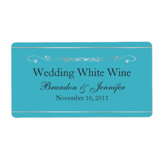 Turquoise Blue and Silver Wedding Mini Wine Labels