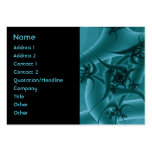 Turquoise Blue and Teal Fractal Art Design. Business Card Template