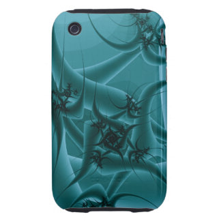 Turquoise Blue and Teal Fractal Art Design. Tough iPhone 3 Cases