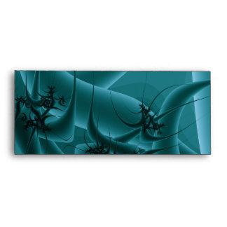Turquoise Blue and Teal Fractal Art Design. Envelopes