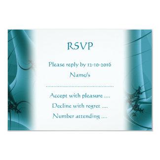 Turquoise Blue and Teal Fractal Art Design. Invites