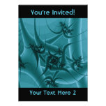 Turquoise Blue and Teal Fractal Art Design. Invitation