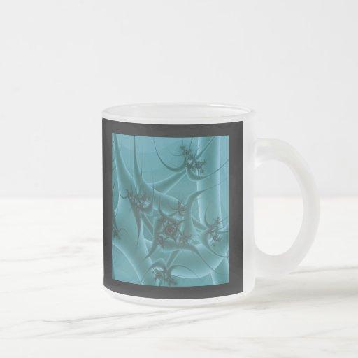 Turquoise Blue and Teal Fractal Art Design. Coffee Mug