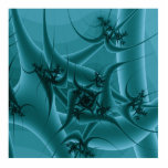 Turquoise Blue and Teal Fractal Art Design. Photo Sculpture