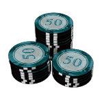Turquoise Blue and Teal Fractal Art Design. Poker Chip Set