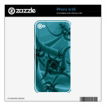 Turquoise Blue and Teal Fractal Art Design. iPhone 4S Skin
