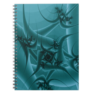 Turquoise Blue and Teal Fractal Art Design. Spiral Note Book