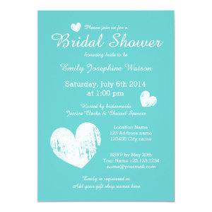 Turquoise blue and white bridal shower invitations 5