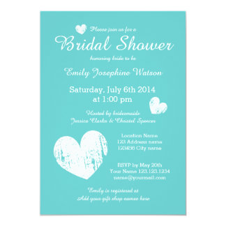 Turquoise blue and white bridal shower invitations