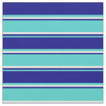[ Thumbnail: Turquoise, Blue, and White Colored Lined Pattern Fabric ]