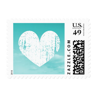 Turquoise blue and white heart design stamps