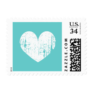 Turquoise blue and white heart wedding stamps