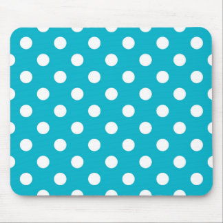 Turquoise Blue and White Polka Dot Pattern Mouse Pad