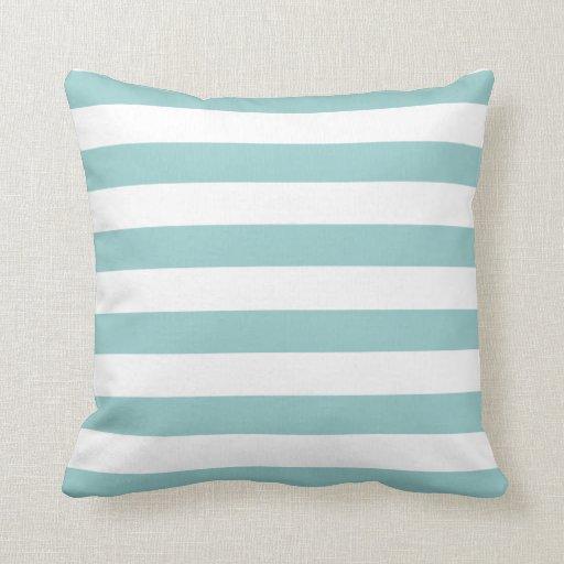 Turquoise Blue and White Stripe Pattern Throw Pillow Zazzle
