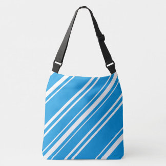 Turquoise Blue and White Striped Shoulder Bag Tote