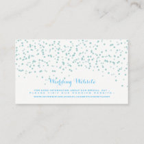 Turquoise Blue and White Wedding Confetti Pattern Enclosure Card