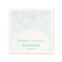 Turquoise blue and White Wedding Confetti Pattern Napkin