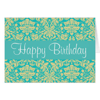 Turquoise Blue and Yellow Damask Birthday Card