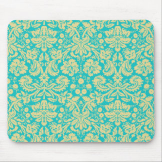 Turquoise Blue and Yellow Damask Mousepad