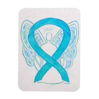 Turquoise Blue Awareness Ribbon Angel Art Magnet