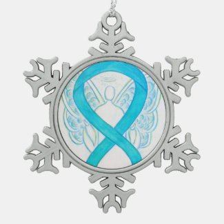 Turquoise Blue Awareness Ribbon Angel Ornament