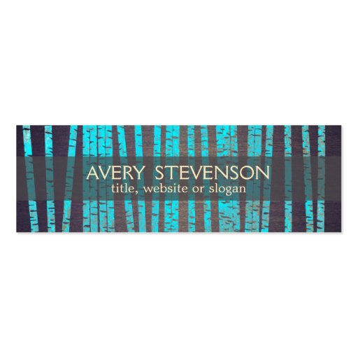 Turquoise Blue Bamboo Nature Health Spa Wood Business Cards