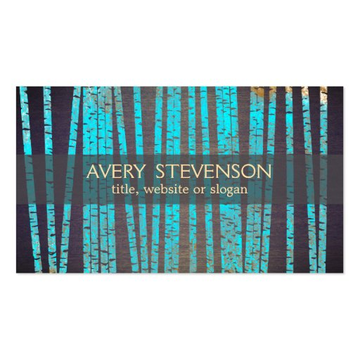 Turquoise Blue Bamboo Nature Health Spa Wood Double-sided Standard Business Cards (pack Of 100)