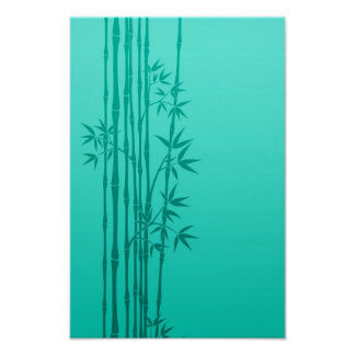 Turquoise Blue Bamboo Sticks with Leaves Posters