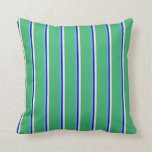 [ Thumbnail: Turquoise, Blue, Beige & Sea Green Stripes Pillow ]