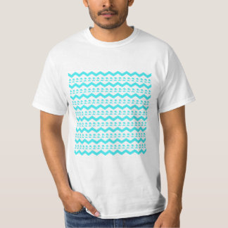 Turquoise Blue Birds and Chevron Pattern T-Shirt