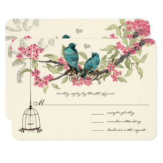 Turquoise Blue Birds Pink Cherry Blossoms Birdcage Card